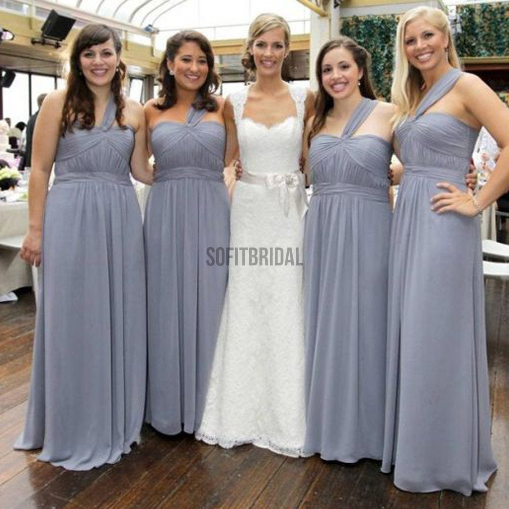 Cheap Simple Formal Chiffon One Shoulder Floor-Length A Line Maxi Bridesmaid Dresses, WG136 - SofitBridal