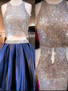 Blue sequin two pieces sparkly off shoulder sexy homecoming prom dress,BD0013 - SofitBridal
