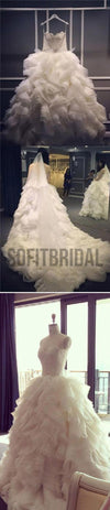 Spaghetti Lace Top Unique Design Wedding Party Dresses, Popular Lace Up Bridal Gown, WD0014 - SofitBridal