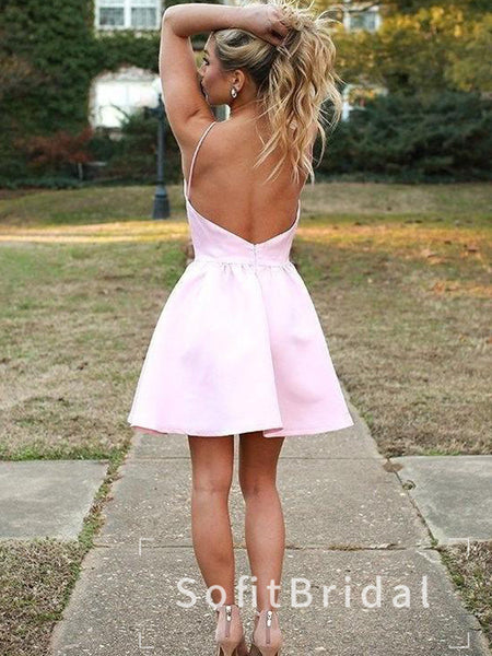 Simple A-Line Halter Pink Cheap Short Homecoming Dresses Online,STBD0014