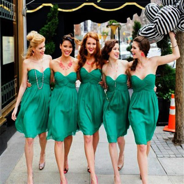 Simple Cheap Chiffon Sweet Heart Knee Length Green Bridesmaid Dresses for Summer Beach Wedding Party, WG141 - SofitBridal