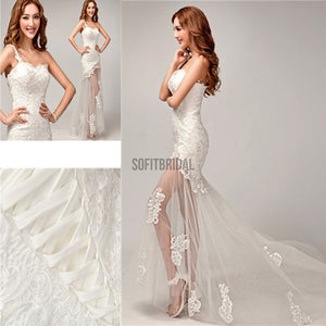 Chic Design One Shoulder Lace Top See Through Sexy Mermaid Lace Up Wedding Dresses, WD0143 - SofitBridal