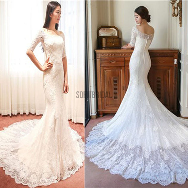 Gorgeous Off Shoulder Half Sleeve Popular Mermaid Wedding Dresses, WD0144 - SofitBridal