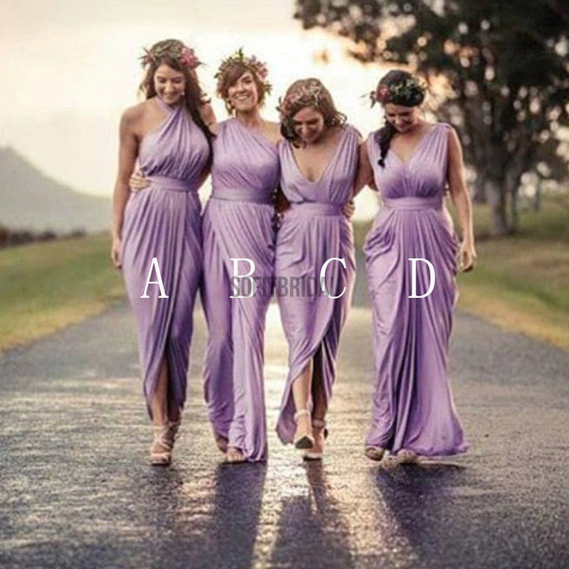 Charming Mismatched Pleating Different Styles Lilac Floor Length Cheap Wedding Guest Dresses, WG145 - SofitBridal