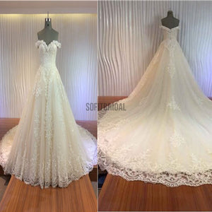Gorgeous Off Shoulder Sweetheart Zip Up Long A-line Lace Wedding Dresses, WD0148 - SofitBridal