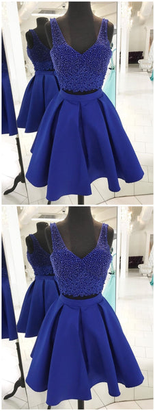 V Neck Beaded Royal Blue Two Piece Homecoming Dresses, SEME089