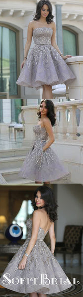 Popular Grey strapless Gorgeous  A-line homecoming prom gown dress,BD00151 - SofitBridal