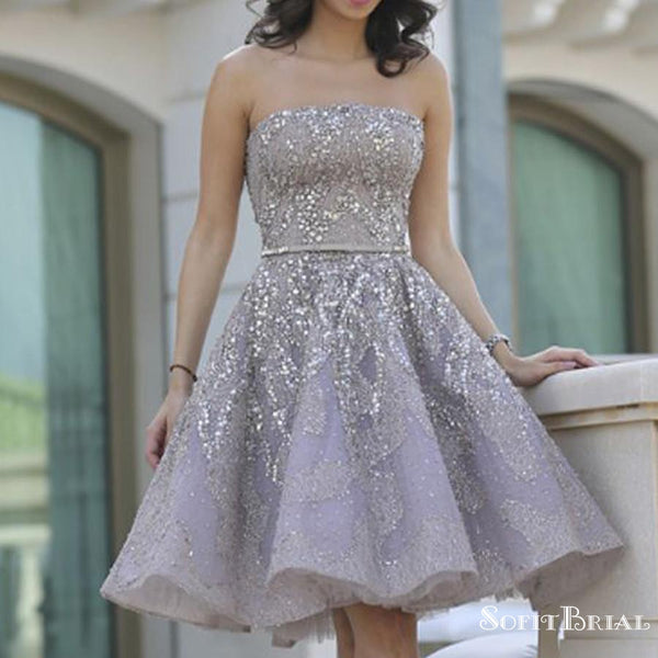 Popular Grey strapless Gorgeous  A-line homecoming prom gown dress,BD00151