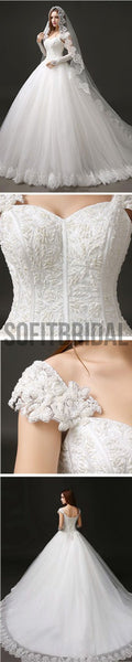 Classic Style Cap Sleeve Lace Top Ball Gown Lace Up Wedding Dresses, WD0157