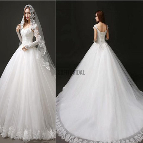 Classic Style Cap Sleeve Lace Top Ball Gown Lace Up Wedding Dresses, WD0157 - SofitBridal
