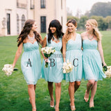 Chiffon Mismatched Simple Styles Junior Knee Length Blue Cheap Short Wedding Party Dresses, WG157 - SofitBridal