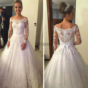 Cheap Vantage Off Shoulder Long Sleeve White Lace Tulle Wedding Party Dresses, WD0015 - SofitBridal