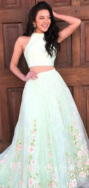 A-Line Round Neck Two Piece Sleeveless Tulle Long Prom Dresses With Appliques,STPD0016