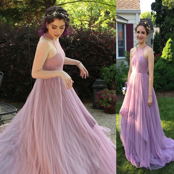 Simple Long A-line Sleeveless Tulle Long A-line Prom Dresses, PD0269 - SofitBridal