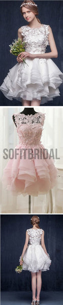 Scoop Neck Appliques Sleeveless Short Organza Custom Make Wedding Party Dresses, WD0169 - SofitBridal