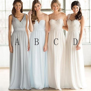 Mismatched Cheap Simple Formal Chiffon Floor-Length A Line Maxi Bridesmaid Dresses, WG169 - SofitBridal