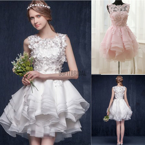 Scoop Neck Appliques Sleeveless Short Organza Custom Make Wedding Party Dresses, WD0169