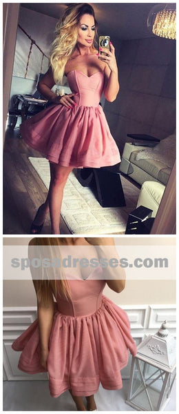 Simple Sweetheart Organza Cheap Short Pink Homecoming Dresses 2018, CM525
