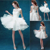 Scoop Neck Sleeveless Cute Appliques Custom Make Organza Wedding Party Dresses, WD0170 - SofitBridal
