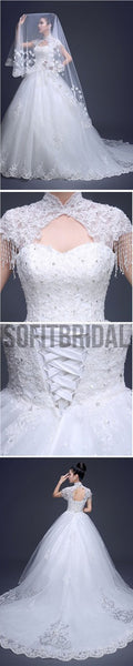 Charming High Neck Cap Sleeve Long A-line Open Back Lace Tulle Wedding Dresses, WD0171 - SofitBridal