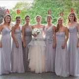 Chiffon Mismatched Different Styles Floor Length Cheap Wedding Guest Bridesmaid Dresses, WG172 - SofitBridal