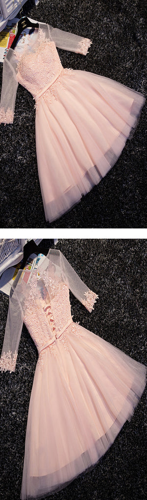 Pink lace A-line with half sleeve lovely elegant party gown homecoming prom dress,BD00174 - SofitBridal