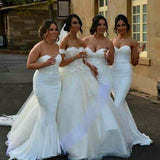 White Satin Cheap Sweet Heart Mermaid Sexy Wedding Party Bridesmaid Dresses, WG175 - SofitBridal