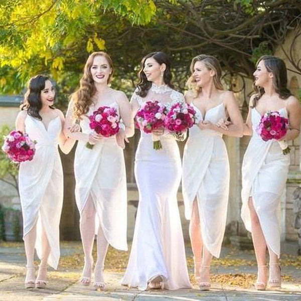 Sexy White Chiffon Side Split Spaghetti Tea Length Cheap Bridesmaid Dresses - SofitBridal