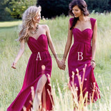 Cheap Simple Formal Chiffon Side Split Floor Length Custom Bridesmaid Dresses - SofitBridal
