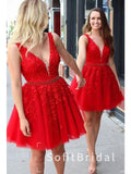 A-Line V-Neck Sleeveless Red Tulle Cheap Homecoming Dresses With Lace,STBD0017