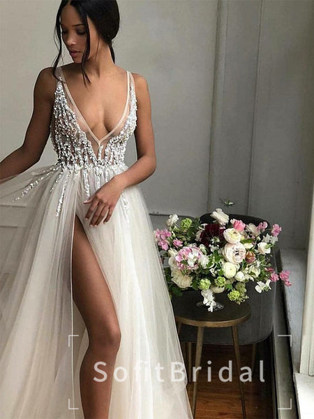 Alluring A-Line Deep V-Neck Sleeveless Tulle Split Side Long Prom Dresses With Beading,STPD0018