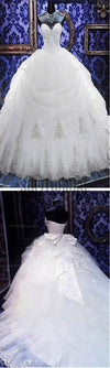 Luxury Sweetheart Silver Lace Wedding Party Dresses, Corset Lace Up Bridal Gown, WD0018 - SofitBridal