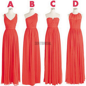 Cheap Simple Mismatched Styles Classic Formal Chiffon Floor-Length Bridesmaid Dresses - SofitBridal