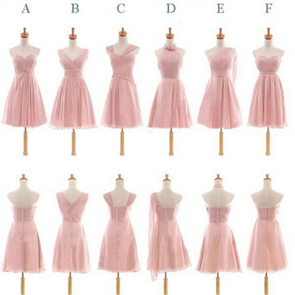 Pretty Chiffon Mismatched Different Styles Blush Pink Knee Length Cheap Bridesmaid Dresses, WG184 - SofitBridal