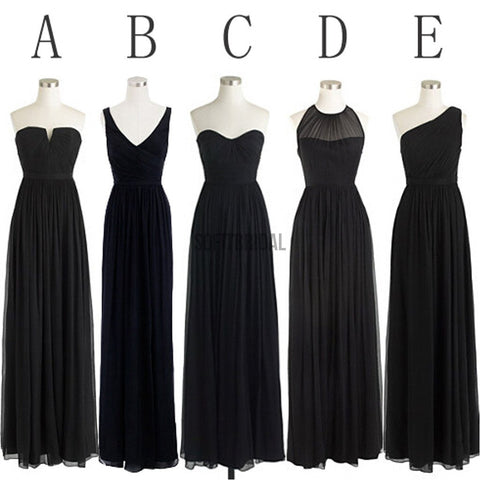 Black Cheap Simple Mismatched Styles Chiffon Floor-Length Formal Long Bridesmaid Dresses, WG187
