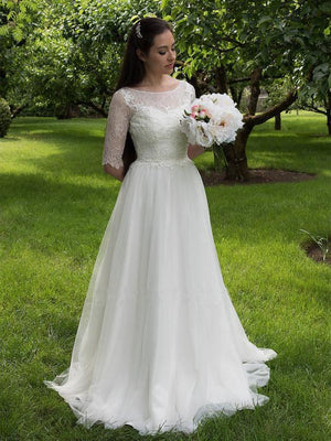 Long Sleeve A-line See Through Cheap Wedding Dresses Online, WD340