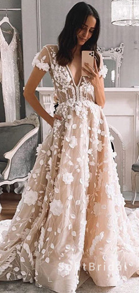 Beautiful A-Line Deep V-Neck Short Sleeves Tulle Long Wedding Dresses With Hand Made Flowers,STWD0019