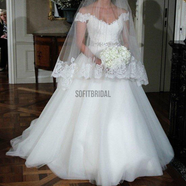 Popular Off Shoulder Long A-line Lace Top White Tulle Beaded Wedding Dresses, WD0191 - SofitBridal