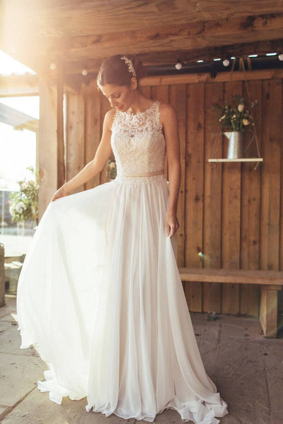 Sleeveless Wedding Dresses, Chiffon Lace Wedding Dresses, Country Wedding Dresses, PD0372