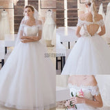 Vantage Off Shoulder Short Sleeve Lace Top Open Back Tulle Wedding Dresses, WD0197 - SofitBridal