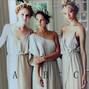 Simple Elegant Mismatched Different Styles Formal A Line Cheap Long Bridesmaid Dresses, WG198 - SofitBridal