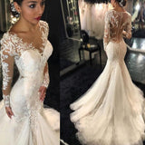 Luxury See Through Long Sleeve Sexy Mermaid Lace Tulle Wedding Dresses, WD0198 - SofitBridal
