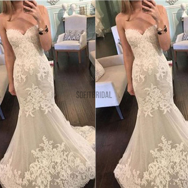 Popular Sweetheart Strapless Mermaid Lace Tulle Cheap Wedding Dresses, WD0199 - SofitBridal