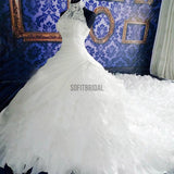 High Neck White Lace Unique Design Chiffon Wedding Party Dresses, Bridal Gown, WD0019 - SofitBridal