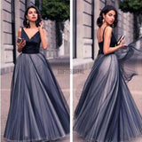 Gorgeous V-neck Black Satin Top Long A-line Tulle Prom Dresses, PD0217 - SofitBridal