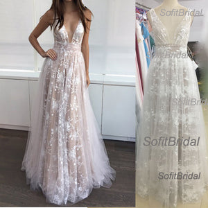 2017 Newest Gorgeous V-neck Lace Tulle Long A-line Cheap Prom Dresses, PD0259 - SofitBridal