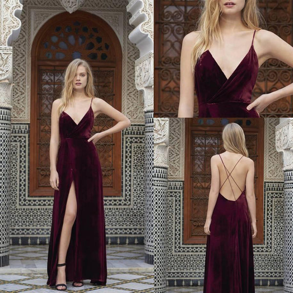 Simple Design Spaghetti Long A-line Side Slit Velvet V-neck Prom Dresses, PD0341