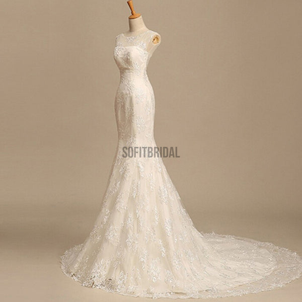Scoop Neck See Through Gorgeous Mermaid Lace Wedding Dresses, WD0161 - SofitBridal