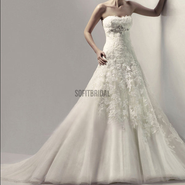 Stunning Long A-line Strapless Lace Rhinestone White Tulle Wedding Dresses, WD0103