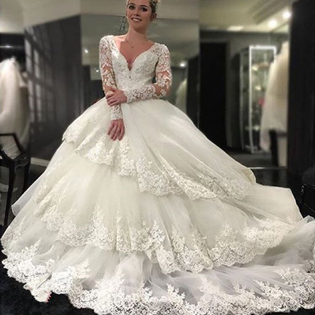 Gorgeous long sleeve v neck open back lace ball gown for Lace wedding dress ball gown